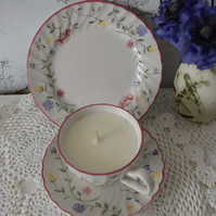 floral cup ,saucer and side plate candle