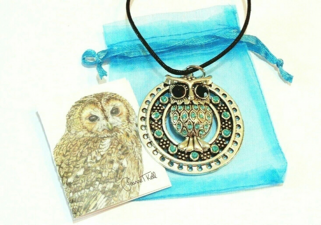 JEWELLED OWL -LARGE LONG OR SHORT ADJUSTABLE CORD PENDANT NECKLACE -Gift Packed