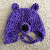 Baby Bear Hats - 0 to 3 months Purple