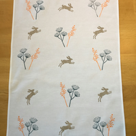 Hand Block Printed Tea Towel - Hares and Botanicals