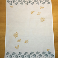 Hand Block Printed Tea Towel - Daisies and Bees