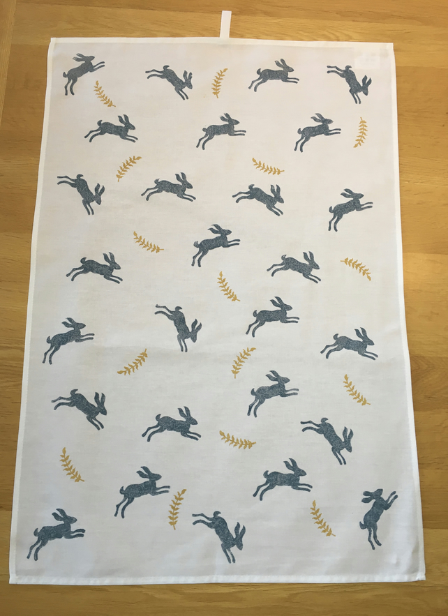 Hand Block Printed Tea Towel - Hares and Ferns