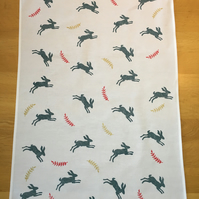 Hand Block Printed Tea Towel - Hares and Ferns (Red and Gold)