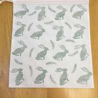 Hand Block Printed Cotton Drawstring Bag - Hares