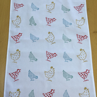Hand Block Printed Tea Towel - Chickens