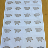 Hand Block Printed Tea Towel - Sheep
