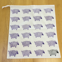 Hand Block Printed Cotton Drawstring Bag - Sheep