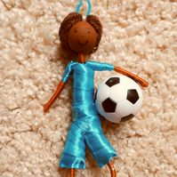 Mixed Race Male Footballer Doll Decoration