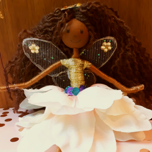 Mixed Race Brunette Fairy Doll Decoration