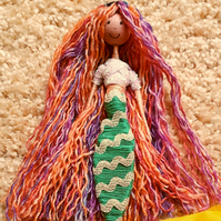 Pastel Rainbow Mermaid Doll Ornament