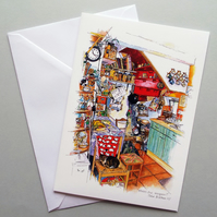 Kitchen illustration A5 greetings card