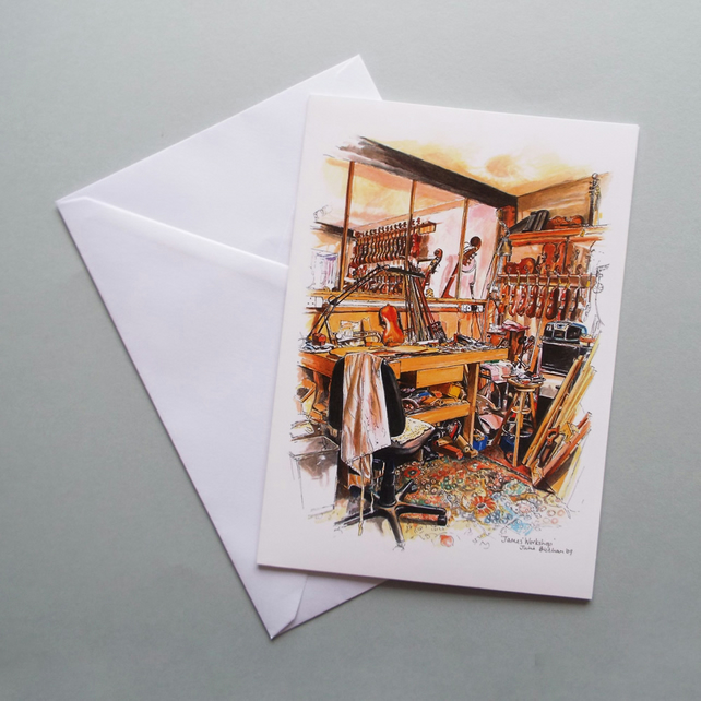 Violin workshop A5 greetings card