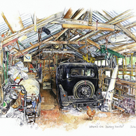 Classic car open edition print - 'Where's the Starting Handle?'