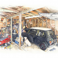 Mini illustration - 'David and Mae in the Garage' open edition
