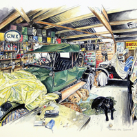 Classic car workshop - 'Where's the Spanner?' open edition giclee print
