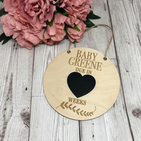 Personalised Pregnancy Announcement Due Date Countdown Plaque