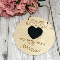 Personalised Engagement  Wedding Countdown Plaque