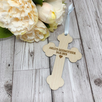 Personalised Godparent Wooden Cross Gift
