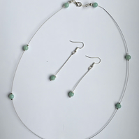 Amazonite semi precious floating necklace & drop earrings set