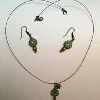 Burnished gold handmade turquoise flower and topaz crystal earrings & necklace
