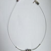Handmade pearl & beaded silver choker toggle necklace