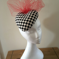 Harlequin Black and White Heart Pillbox hat