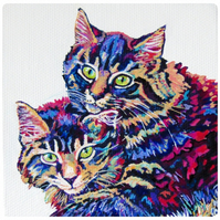 Custom hand painted colourful miniature framed pet portrait