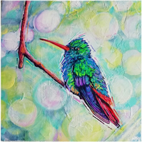 A fleeting moment - original colourful contemporary acrylic hummingbird painting