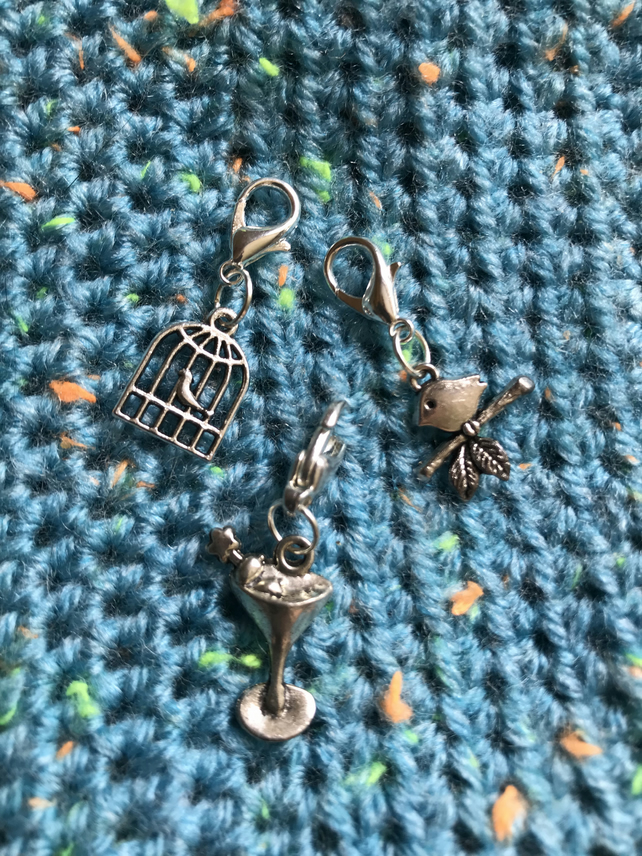 Set of three crochet or knitting stitch markers in cocktail glass & bird  designs