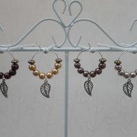Leaf wine glass charms