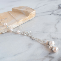 Asymmetric White Pearl (June) Necklace
