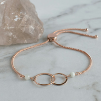 Interlocking Circles Rose Gold and Jade Bracelet - Fully Adjustable