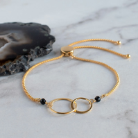 Interlocking Rings Gold and Black Spinel Bracelet - Fully Adjustable