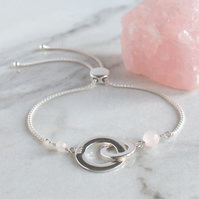Chunky Interlocking Circles and Rose Quartz Bracelet - Fully Adjustable