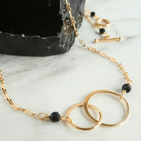 Interlocking Rings Gold and Black Spinel Necklace