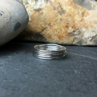 Skinny sterling silver stacking rings set of five, Thin hammered rings