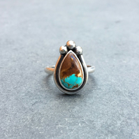 Royston Ribbon turquoise ring, Made to order turquoise sterling silver ring