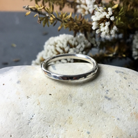 Hammered Sterling Silver Stacking Ring, Silver Stacker Ring, Thumb ring