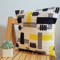 Vintage Material Handmade Cushion Cover - Retro Yellow, Black & White Pattern.