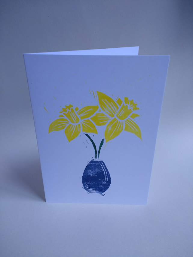 Daffodils in vase card