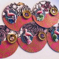 5 flamingo-themed handmade embellishments for scrapbooking die cuts