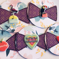 5 super-cute floral handmade embellishments with bows for scrapbooking cards