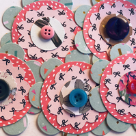 5 large handmade flowers with button embellishments for scrapbooking cardmaking