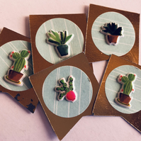 5 handmade cacti embellishments for scrapbook card craft