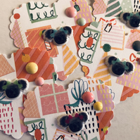 5 koala heart embellishments for scrapbook die cuts toppers
