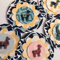 5 handmade llama alpaca embellishments for scrapbook cards