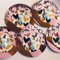 5 handmade bunny embellishments for scrapbooking die cuts