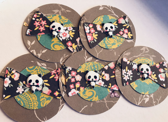5 handmade panda bow embellishments for scrapbook card craft die cuts