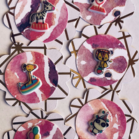 6 handmade circus embellishments for scrapbook card craft