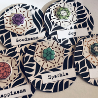 5 handmade button die cut embellishments for scrapbook